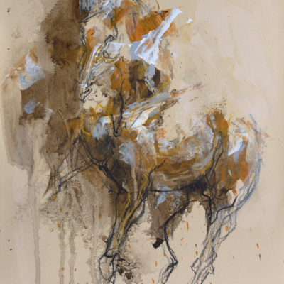 Renewal 4, mixed media painting on paper