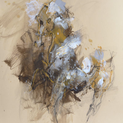 Renewal 5, mixed media painting on paper