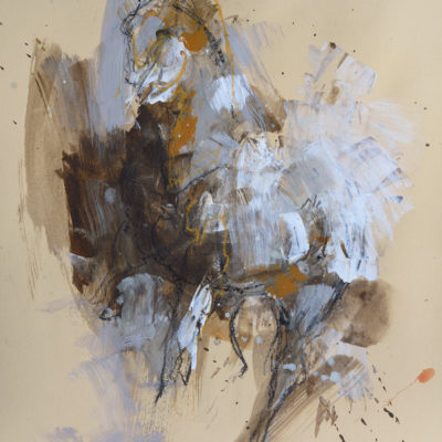 Renewal 6, mixed media painting on paper